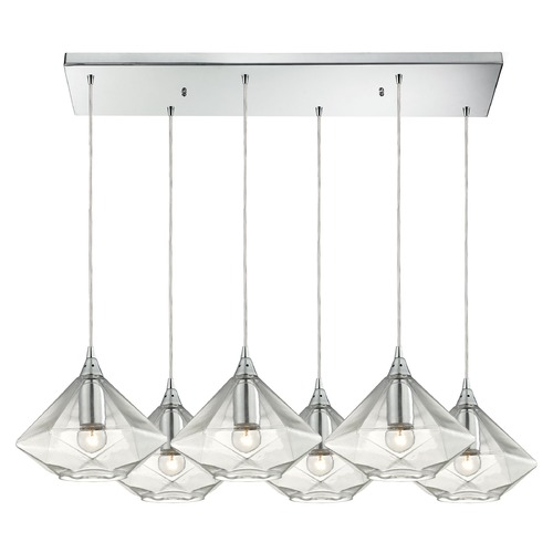 Elk Lighting Elk Lighting Geometrics Polished Chrome Multi-Light Pendant with Conical Shade 10440/6RC