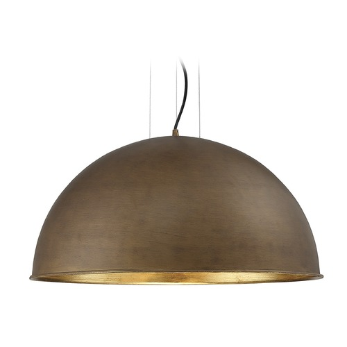 Savoy House Savoy House Lighting Sommerton Rubbed Bronze / Gold Leaf Pendant Light with Bowl / Dome Shade 7-5014-3-84