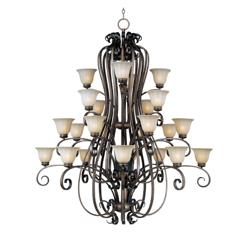 Maxim Lighting Chandelier with Beige / Cream Glass in Platinum Dusk Finish 22248WSPD