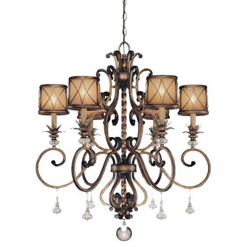 Minka Lavery Chandelier with Beige / Cream Glass in Aston Court Bronze Finish 4757-206