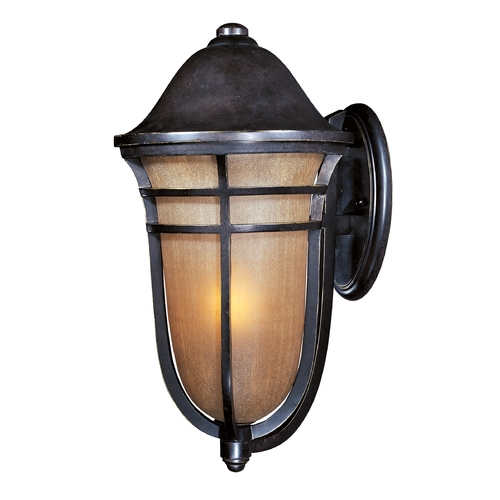 Maxim Lighting Outdoor Wall Light with Beige / Cream Glass in Artesian Bronze Finish 40105MCAT
