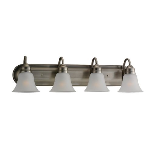 Sea Gull Lighting Bathroom Light with White Glass in Antique Brushed Nickel Finish 44853-965