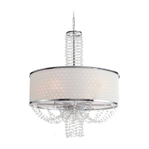 Crystorama Lighting Crystal Drum Pendant Light with White Shade in Chrome Finish 9806-CH