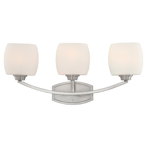 Nuvo Lighting Modern Bathroom Light with White Glass in Brushed Nickel Finish 60/4183
