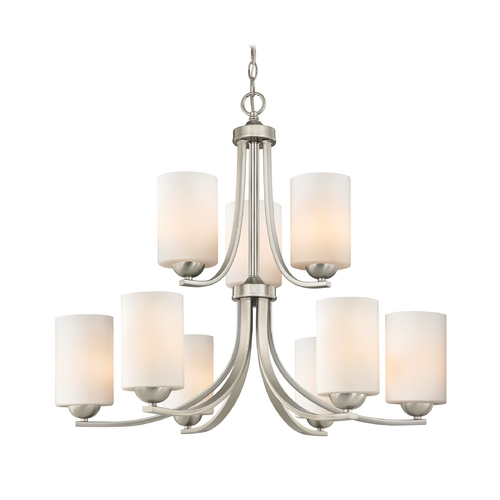 Design Classics Lighting Modern Chandelier with Two Tiers and Opal White Cylinder Glass Shades 586-09 GL1024C