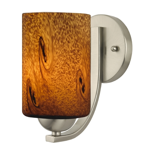 Design Classics Lighting Sconce with Brown Art Glass in Satin Nickel Finish 585-09 GL1001C