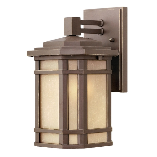 Hinkley Lighting LED Outdoor Wall Light with Amber Glass in Oil Rubbed Bronze Finish 1270OZ-LED
