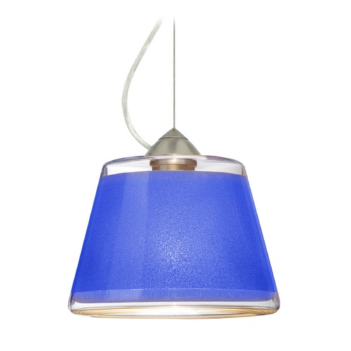 Besa Lighting Besa Lighting Pica Satin Nickel LED Pendant Light with Empire Shade 1KX-PIC9BL-LED-SN