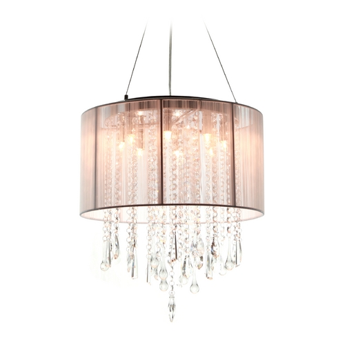 Avenue Lighting Avenue Lighting Beverly Drive Chrome Pendant Light with Drum Shade HF1501-TP