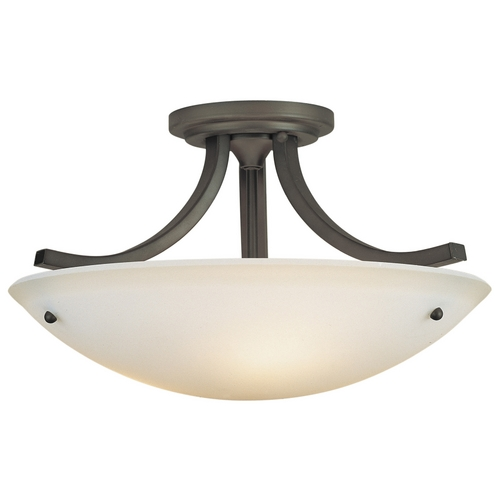 Feiss Lighting Modern Semi-Flushmount Light with White Glass in Oil Rubbed Bronze Finish SF189ORB