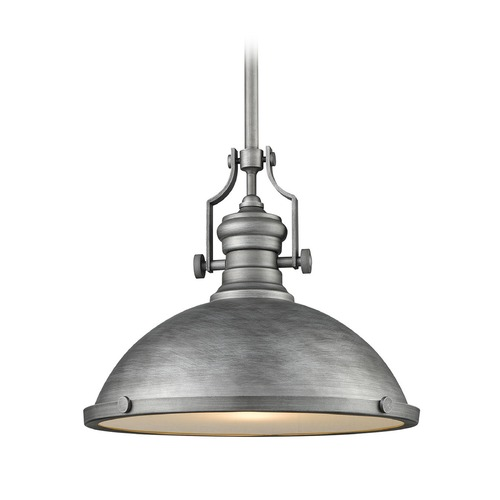 Elk Lighting Chadwick Weathered Zinc Pendant Light With Bowl Dome Shade