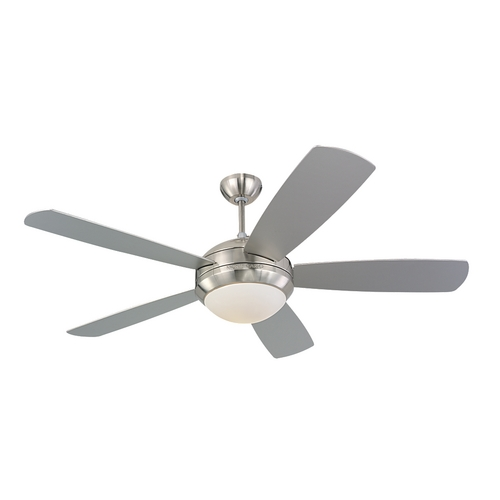 Monte Carlo Fans Modern Ceiling Fan with Light with White Glass in Brushed Steel / Matte Opal Finish 5DI52BSD-L