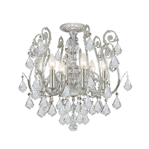 Crystorama Lighting Crystal Semi-Flushmount Light in Olde Silver Finish 5115-OS-CL-S