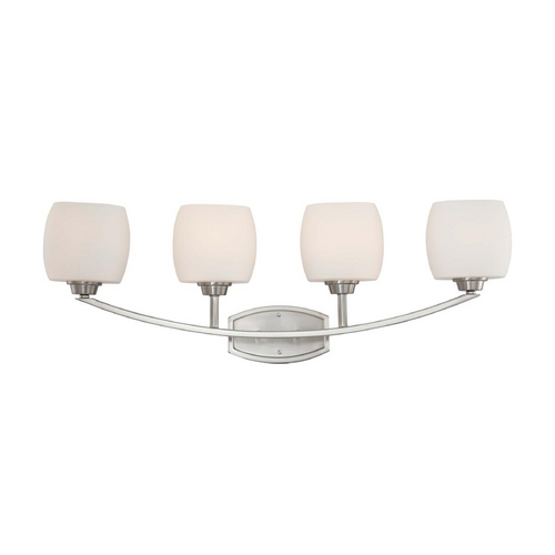 Nuvo Lighting Modern Bathroom Light with White Glass in Brushed Nickel Finish 60/4184