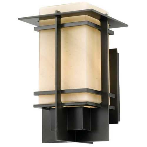 Hubbardton Forge Lighting Outdoor Wall Light in Dark Smoke with Stone Glass - 11-Inches Tall 306001-17-H72