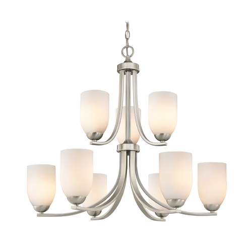 Design Classics Lighting Nine Light Chandelier with Opal White Glass in Satin Nickel Finish 586-09 GL1024D
