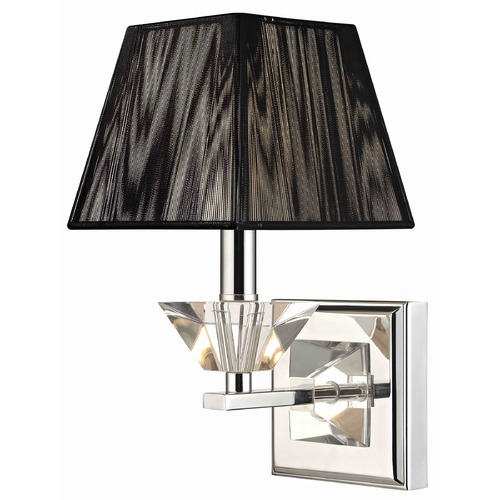 Ashford Classics Lighting Contemporary Crystal Chrome Wall Sconce with Black String Shade 2271-26