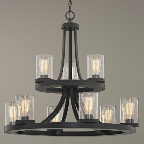 Design Classics Lighting Industrial Seeded Glass Chandelier in Bronze 9-Lt 2-Tier 163-78 GL1041C