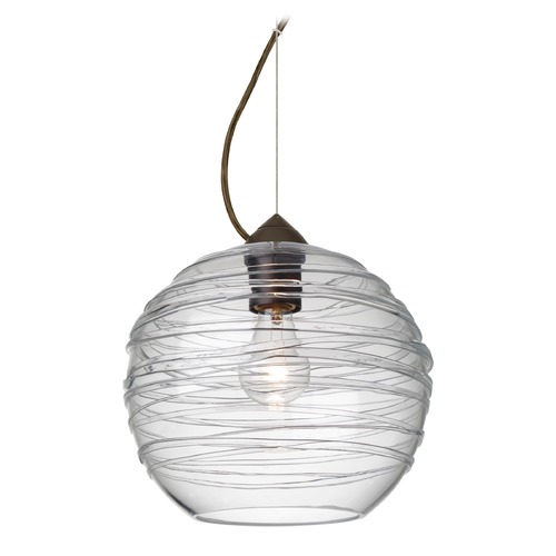 Besa Lighting Besa Lighting Wave Bronze Pendant Light with Globe Shade 1KX-462761-BR