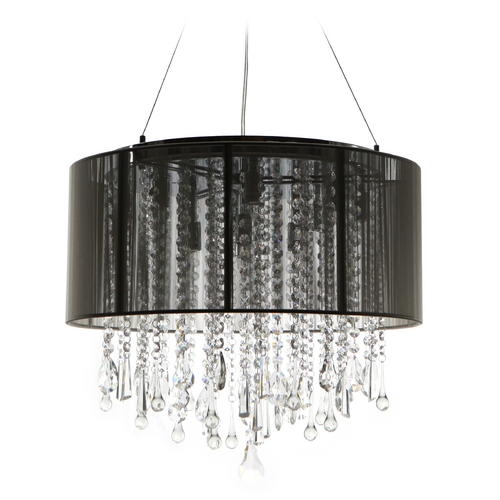 Avenue Lighting Avenue Lighting Beverly Drive Chrome Pendant Light with Drum Shade HF1502-BLK
