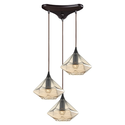 Elk Lighting Elk Lighting Geometrics Oil Rubbed Bronze Multi-Light Pendant with Conical Shade 10450/3