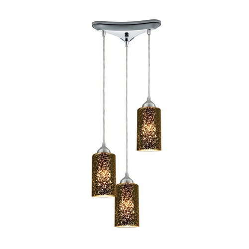 Elk Lighting Elk Lighting Illusions Polished Chrome Multi-Light Pendant with Cylindrical Shade 10505/3