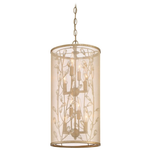 Minka Lighting Minka Sara's Jewel Nanti Champaign Silver Pendant Light with Cylindrical Shade 4438-252
