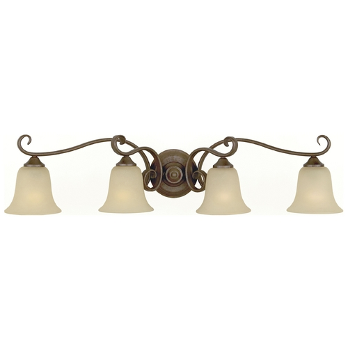 Home Solutions by Feiss Lighting Bathroom Light with Beige / Cream Glass in Corinthian Bronze Finish VS10404-CB