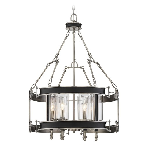 Savoy House Savoy House Lighting Gramercy Polished Pewter / Black Pendant Light with Cylindrical Shade 7-5042-6-81
