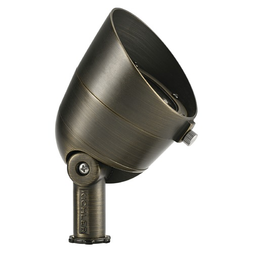 Kichler Lighting 12V Brass LED Flood Landscape Light by Kichler 10 Degree Spot 2700K 16153CBR27