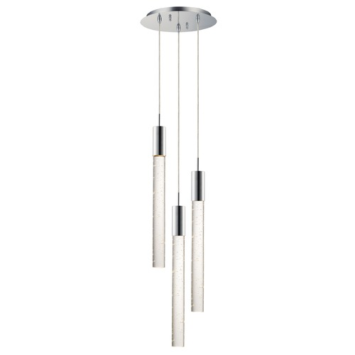 ET2 Lighting ET2 Big Fizz Polished Chrome LED Multi-Light Pendant with Cylindrical Shade E22873-91PC