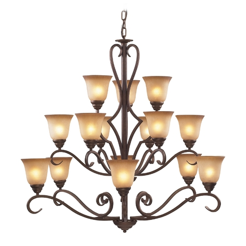 Elk Lighting Chandelier with Beige / Cream Glass in Mocha Finish 9330/6+6+3