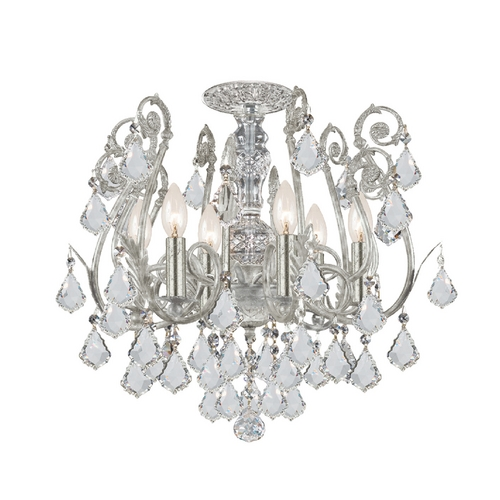 Crystorama Lighting Crystal Semi-Flushmount Light in Olde Silver Finish 5115-OS-CL-SAQ