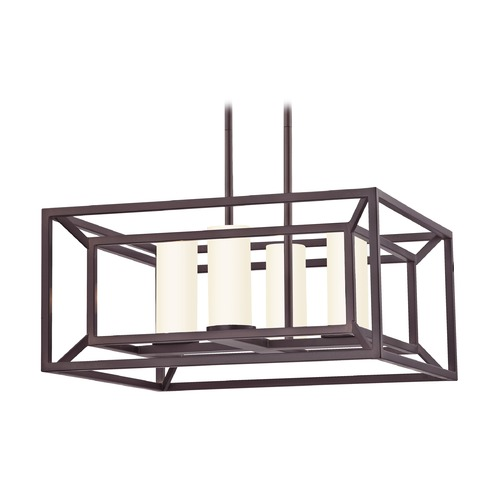 Design Classics Lighting Square Caged Chandelier in Bronze 1747-30 G174-W