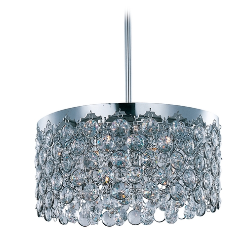 ET2 Lighting Modern Drum Pendant Light with Clear Glass in Polished Chrome Finish E21154-20PC