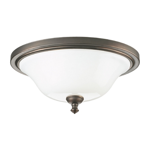 Progress Lighting Progress Flushmount Light with White Glass in Venetian Bronze Finish P3326-74