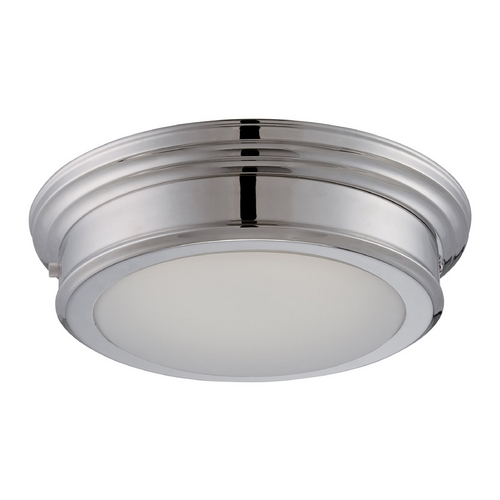 Nuvo Lighting LED Flushmount Light with White Glass in Polished Nickel Finish 62/153