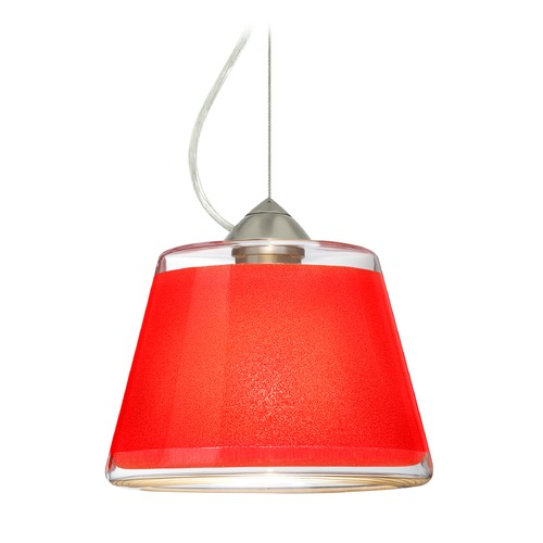 Besa Lighting Besa Lighting Pica Satin Nickel LED Pendant Light with Empire Shade 1KX-PIC9RD-LED-SN