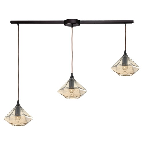 Elk Lighting Elk Lighting Geometrics Oil Rubbed Bronze Multi-Light Pendant with Conical Shade 10450/3L
