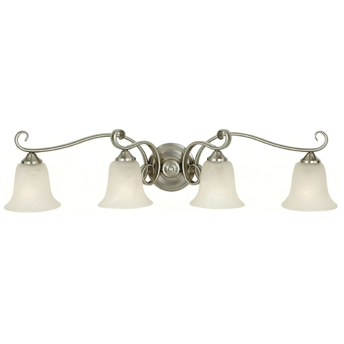 Feiss Lighting Bathroom Light with Alabaster Glass in Brushed Steel Finish VS10404-BS