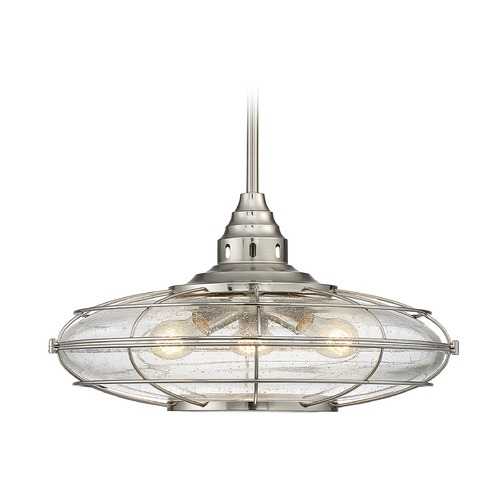 Savoy House Seeded Glass Oblong Pendant Light Satin Nickel Savoy House 7-573-3-SN