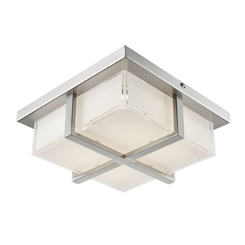 Kuzco Lighting Modern Brushed Nickel LED Flushmount Light with Frosted Shade 3000K 720LM FM2410-BN