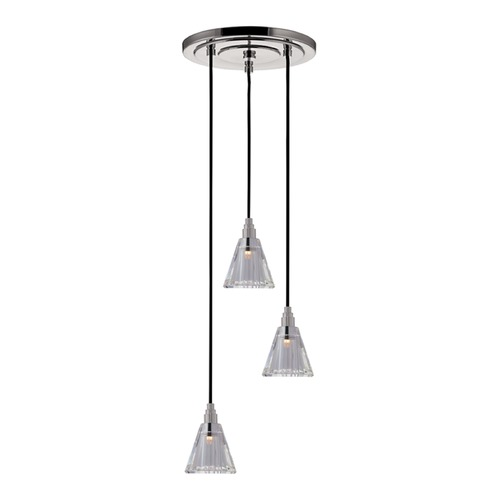 Hudson Valley Lighting Naples Satin Nickel Multi-Light Pendant with Cylindrical Shade 3613-SN-B-003