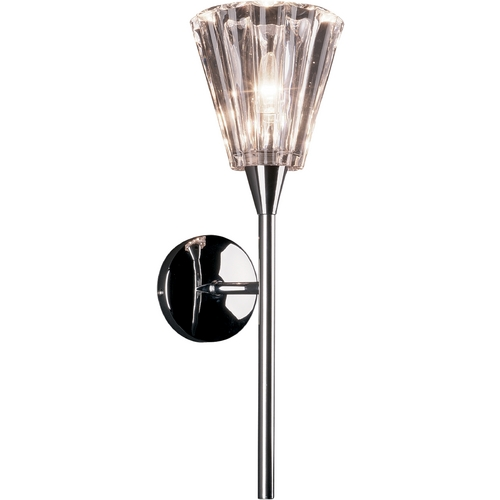 ET2 Lighting Modern Sconce Wall Light with Clear Glass in Polished Chrome Finish E20191-19