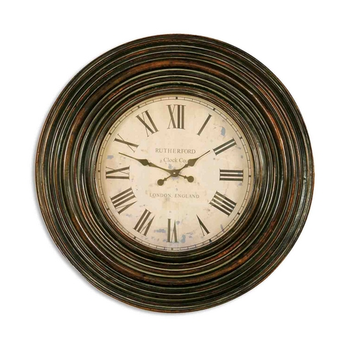 Uttermost Lighting Clock in Distressed Burnished Brown Finish 06726