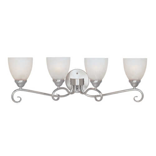 Designers Fountain Lighting Bathroom Light with Alabaster Glass in Satin Platinum Finish 98004-SP
