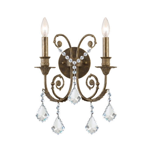 Crystorama Lighting Crystal Sconce Wall Light in English Bronze Finish 5112-EB-CL-MWP