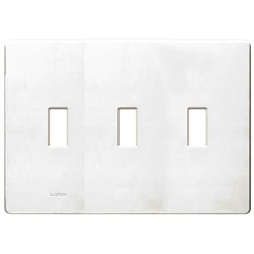Lutron Dimmer Controls Screwless Three-Gang Wallplate FW-3-WH