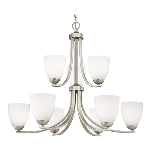Design Classics Lighting Modern 2-Tier 9-Light Chandelier with Opal White Bell Glass in Satin Nickel 586-09 GL1024MB
