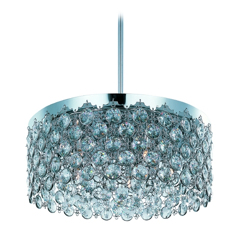 ET2 Lighting Modern Drum Pendant Light with Clear Glass in Polished Chrome Finish E21155-20PC